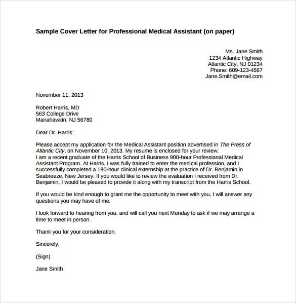 professional cover letter for medical assistant sample pdf free download