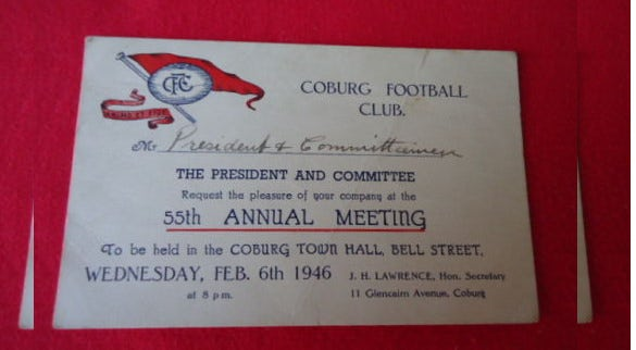 football club annual meeting invitation card
