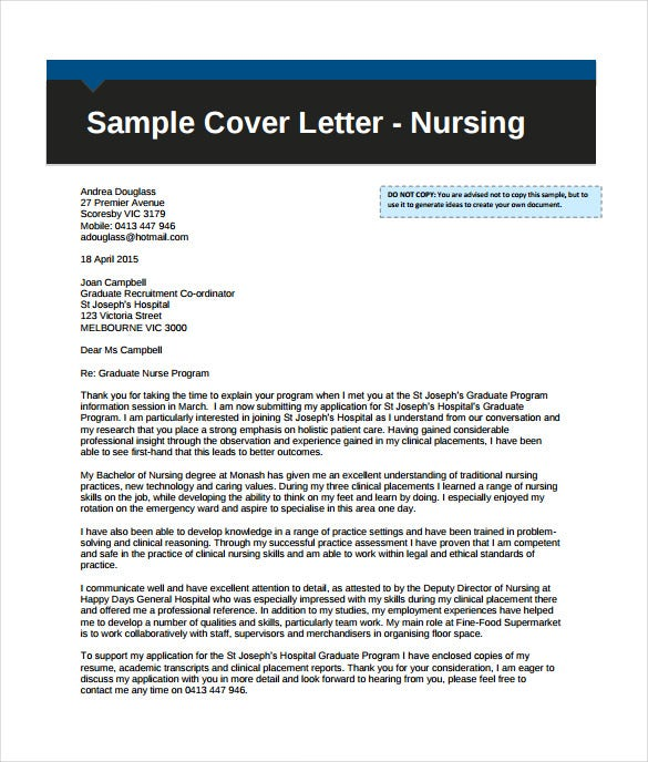 professional nursing cover letter example pdf template free download