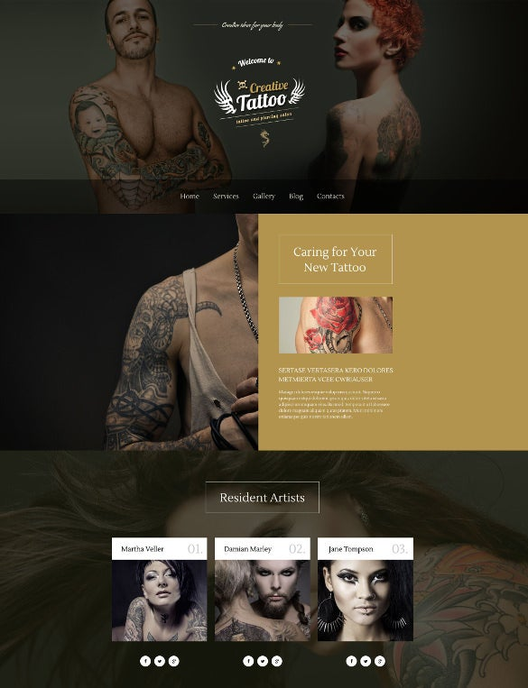 creative tattoo wordpress bootstrap theme