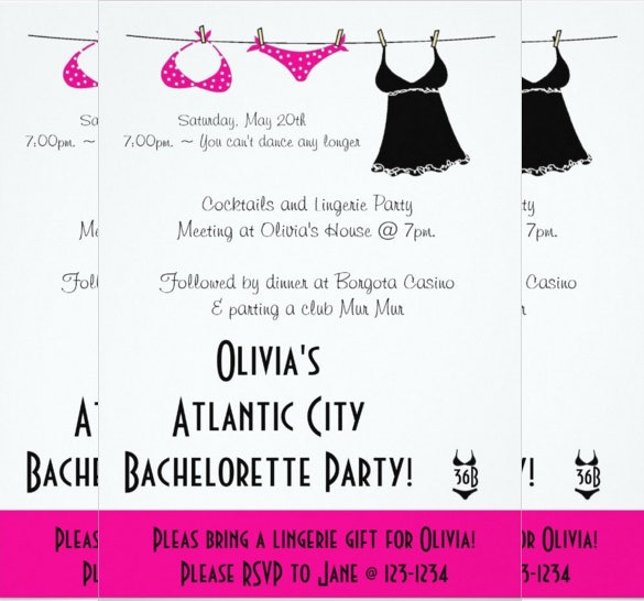 lingerie bachelorette invitation card