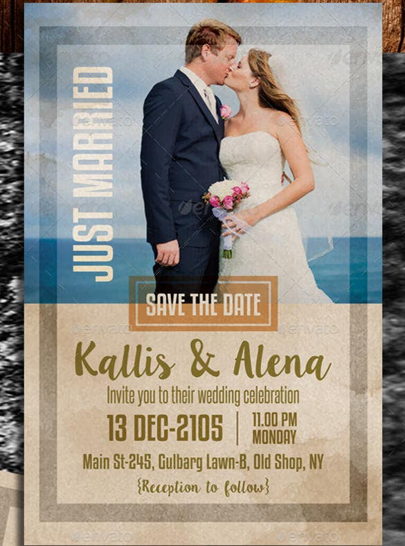 love couple photo wedding invitation