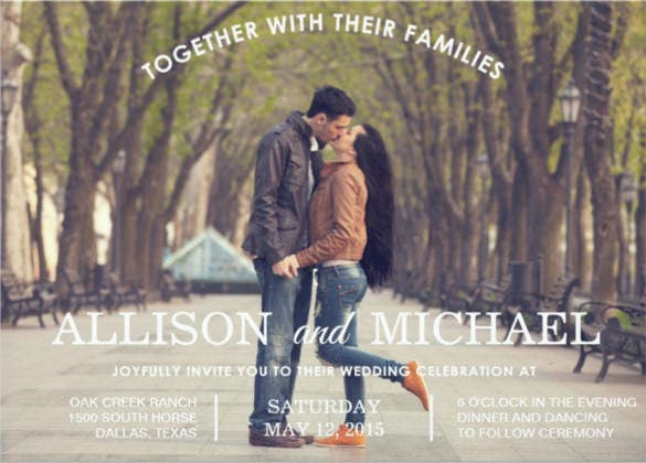 together photo wedding invitation