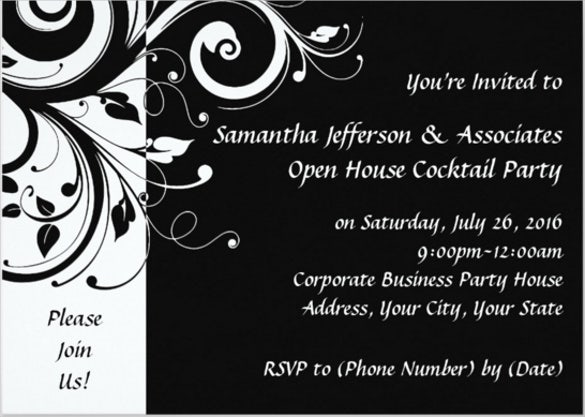 black swirl corporate party invitation card