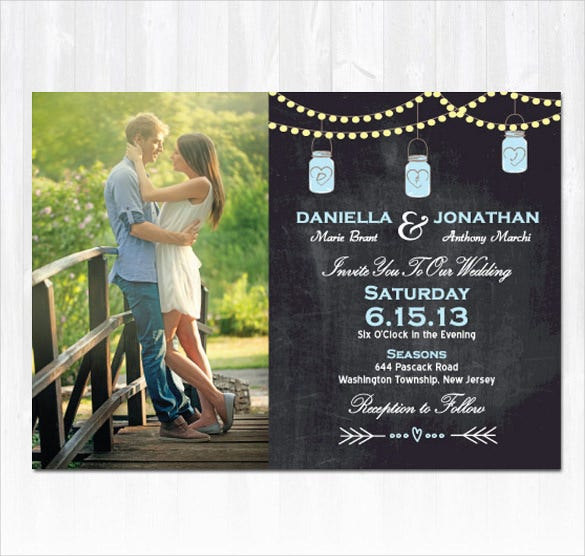 mason jar photo wedding invitation