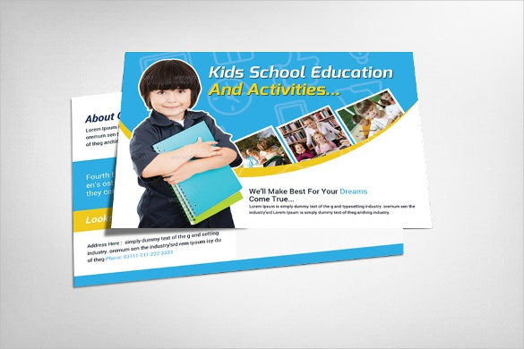 education postcard template for kids