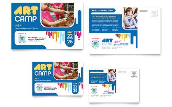 kids art camp postcard template