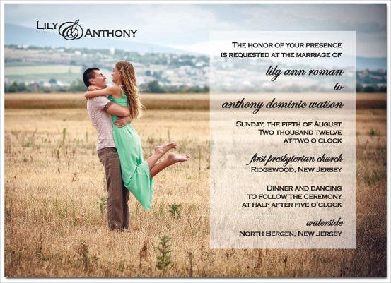 digital photo wedding invitation