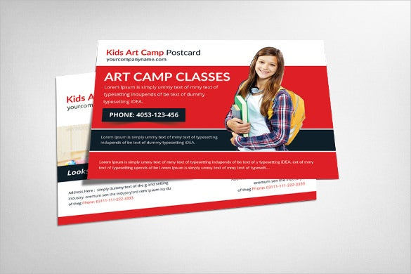 red kids art camp postcard template