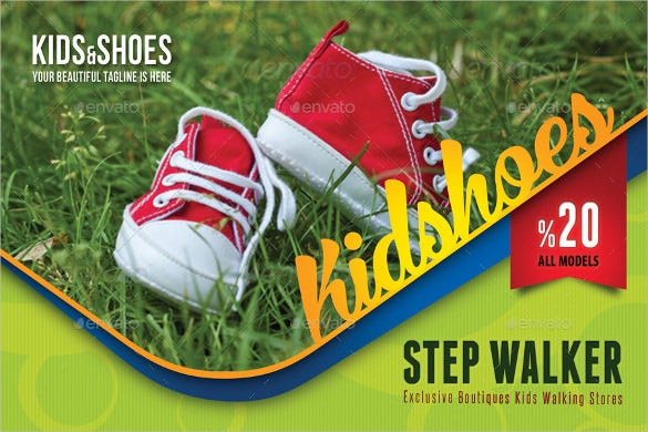 creative kid and shoes postcard template