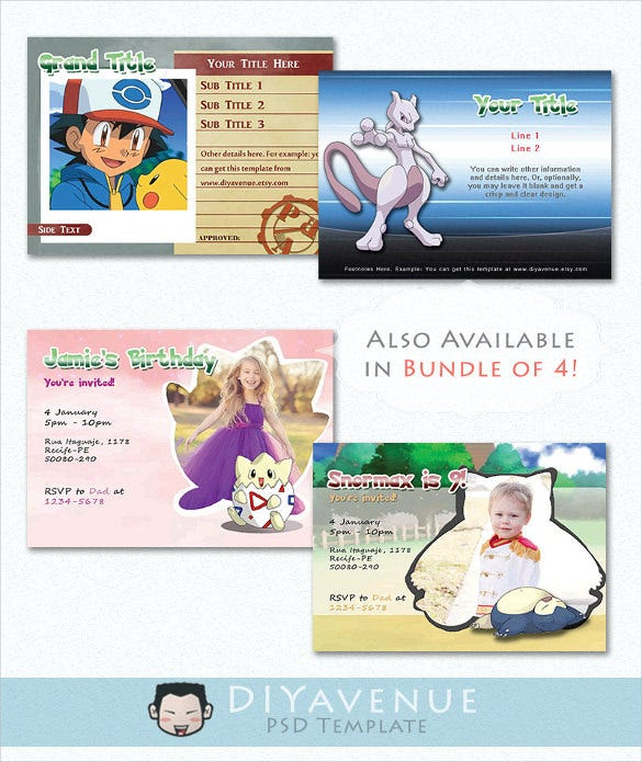 Kids Birthday Pokemon Postcard Template Instant Download
