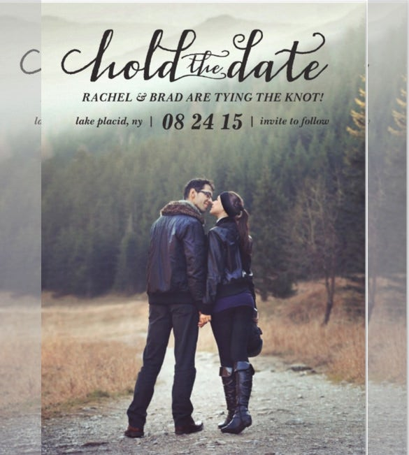 kissing photo wedding invitation