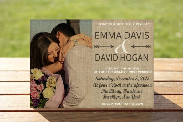 rustic photo wedding invitation