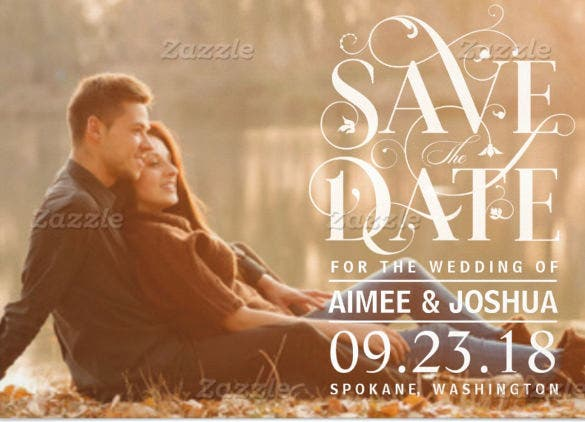 floral save the date photo wedding invitation