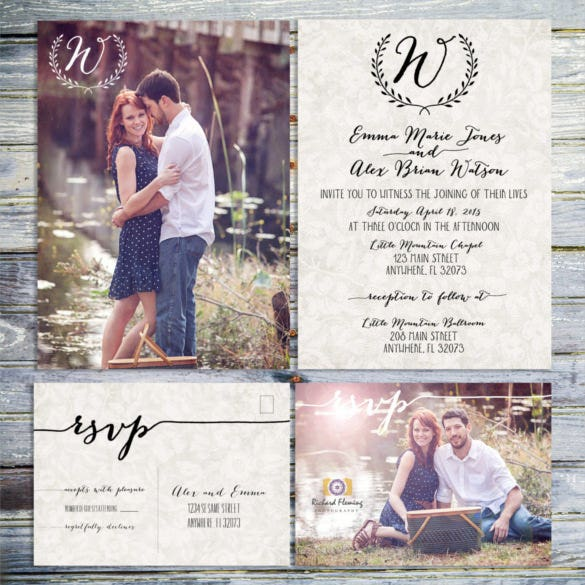 monogram photo wedding invitation
