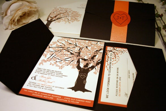 Fall Wedding Invitation Template – 15 PSD Formats Download