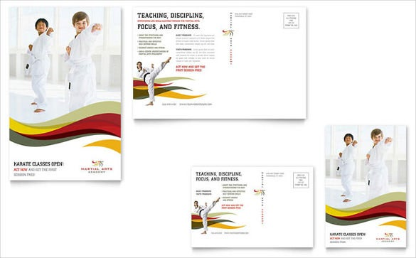 postcard template for karate and martial arts for kids