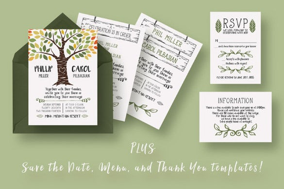 Fall wedding invitation template 15 psd formats download free invite your family and friends to your wedding with this quirky rustic fall wedding invitation theme that features a very adorable caricature of a tree in stopboris Choice Image