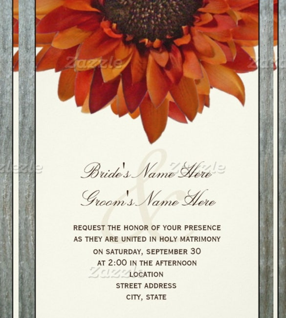 sunflower fall wedding invitation card