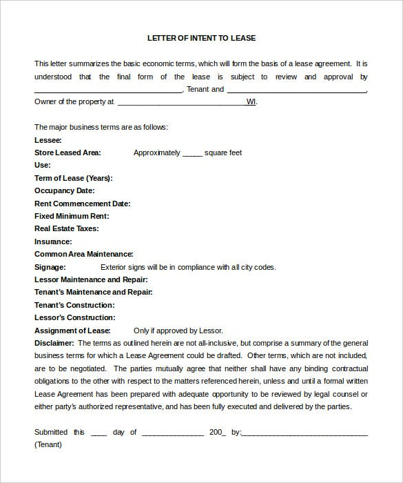 free simple letter of intent to lease blank form download