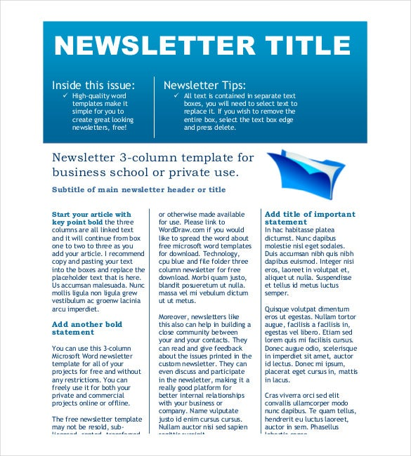 Free Newsletter Template   Free Word Pdf Documents Download