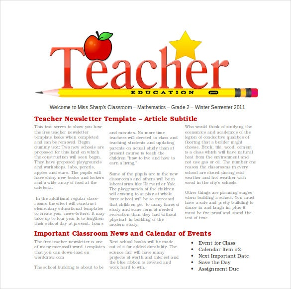 free teacher newsletter template