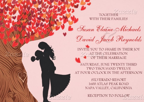 loving couple fall wedding invitation