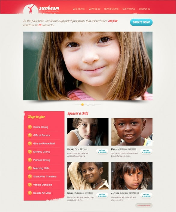 pink children charity drupal template