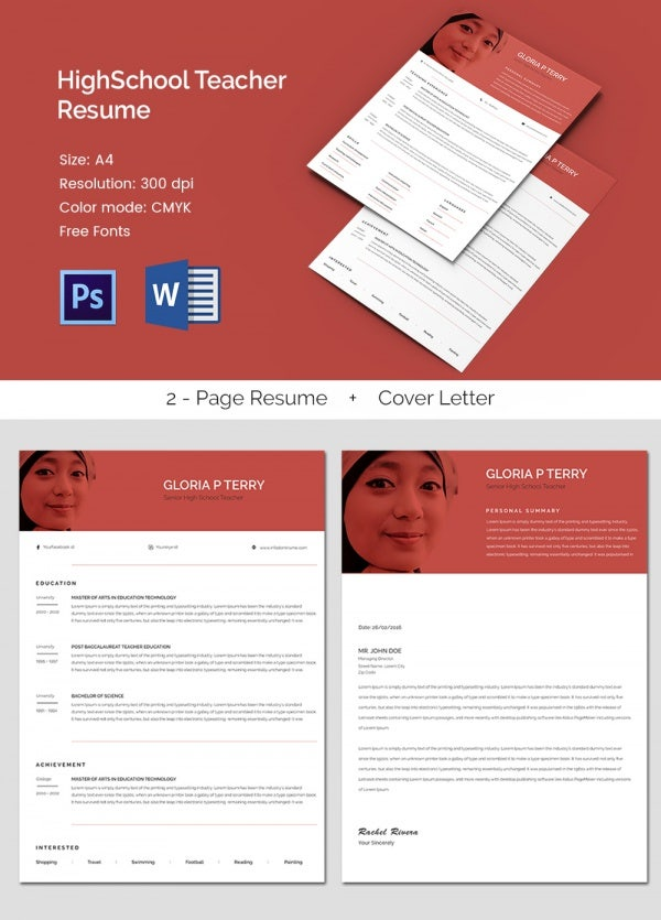 A4 Size High School Teacher Resume / CV Template