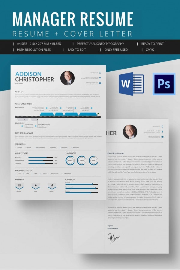 creative resume template 81 free samples examples format - Manager Resume Template