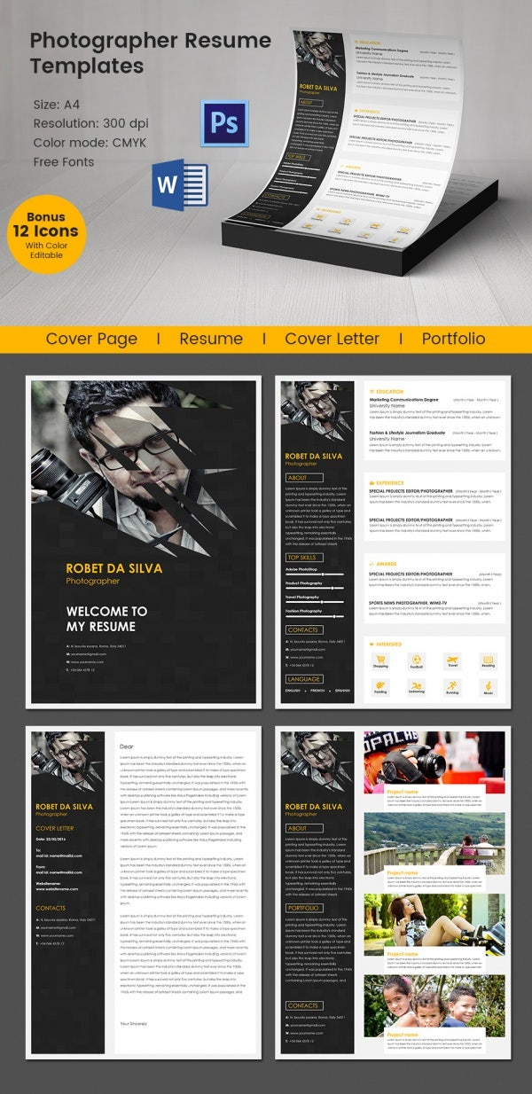 creative photographer resume template