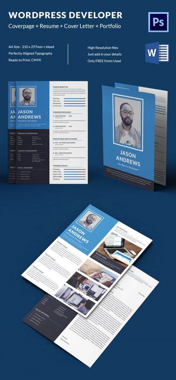 Wordpress Developer Resume + Cover Letter + Portfolio Template