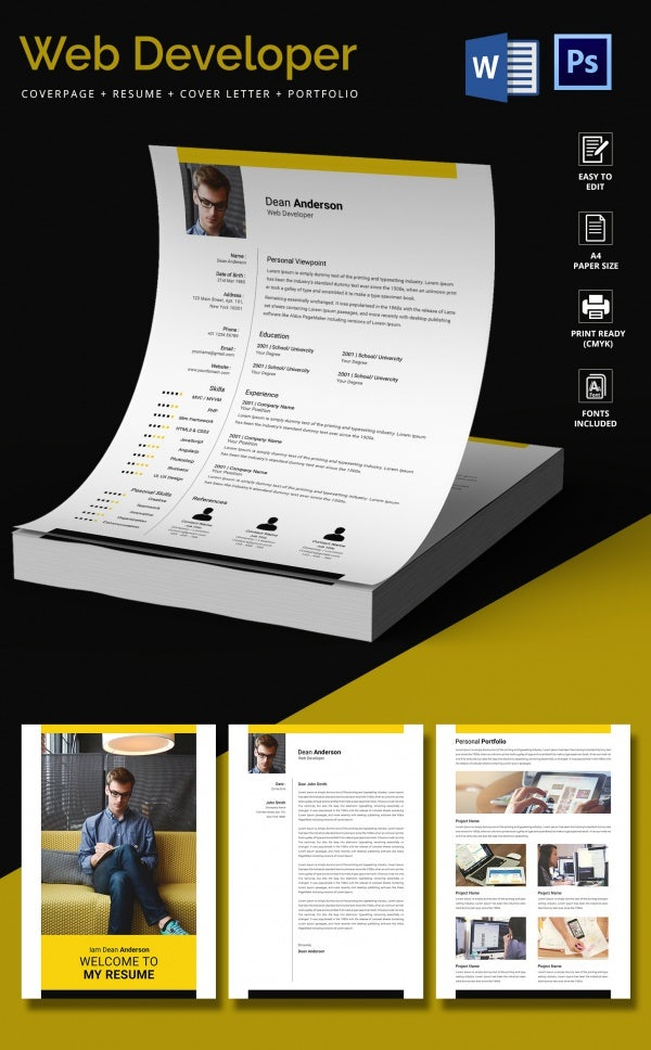 web developer resume cv template - Photo Resume Template Free