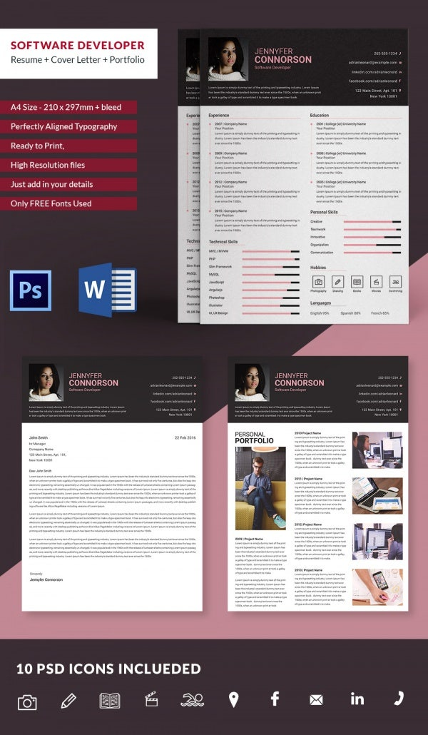 Software Developer Resume  Cover Letter  Portfolio Template  Free