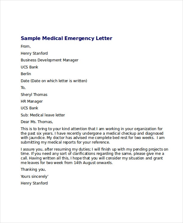Medical leave letter 8 free word excel pdf documents download medical emergency leave letter spiritdancerdesigns Image collections