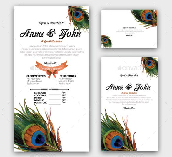 feathery invitation wedding pack