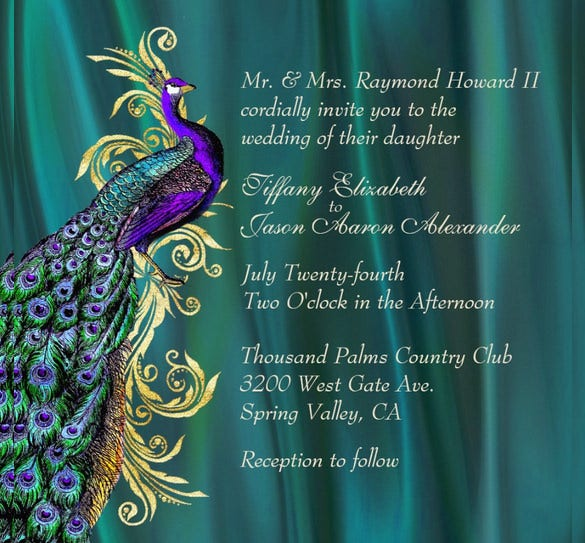 elegant teal satin peacock wedding invitation