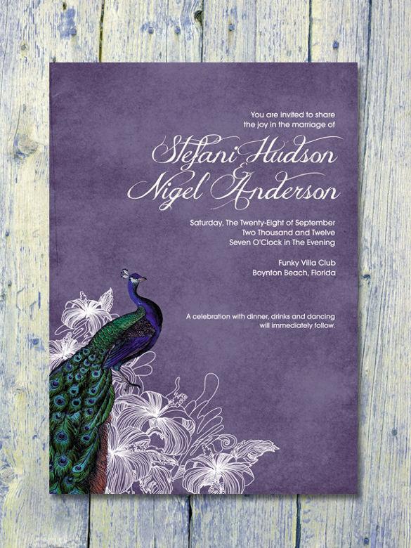 13  peacock wedding invitations