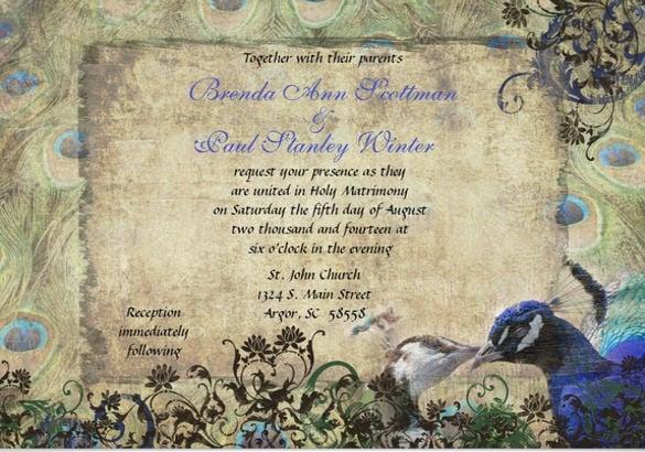 Peacock Wedding Invitations Template: 13+ Peacock Wedding Invitations- PSD, JPG, Indesign