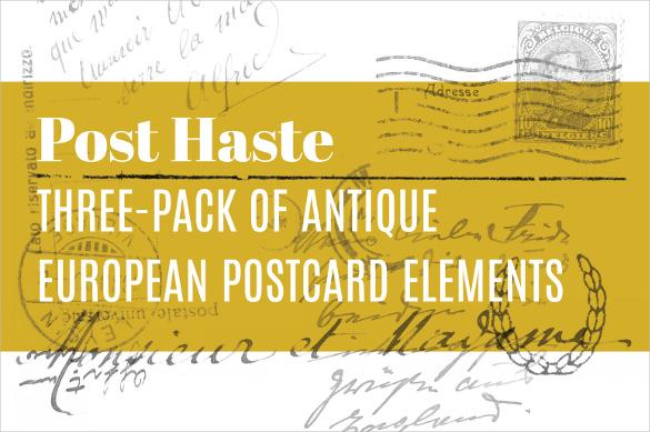 antique european postcard template
