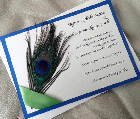 feather ribbon wedding invitation