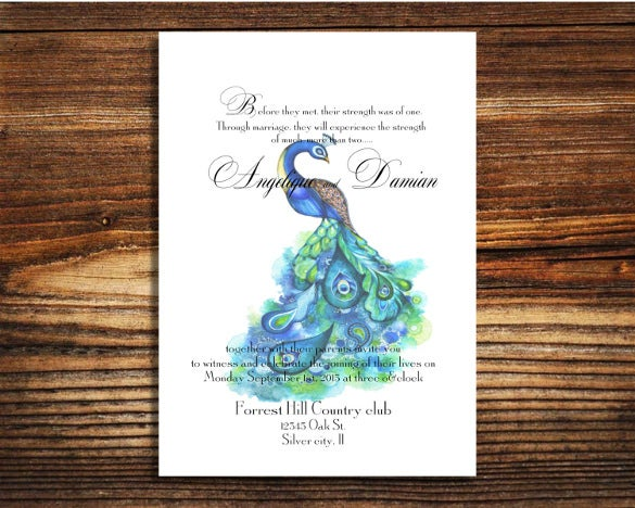 modern peacock wedding invitation