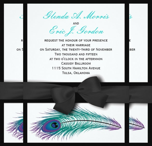 peacock tuxedo wedding invitation