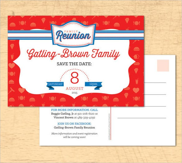 family reunion save the date postcard