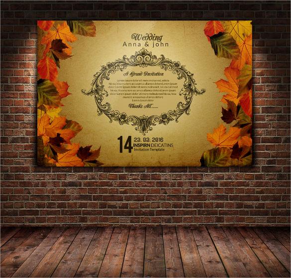 golden colour leaf postcard template