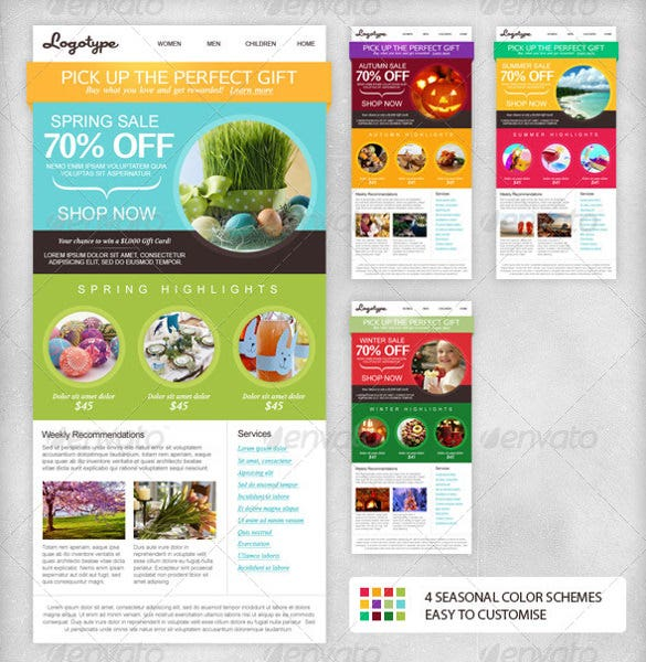 for online stores personal blog or online magazines the seasonal email newsletter template is perfect as it offers simple customisation options over pdf