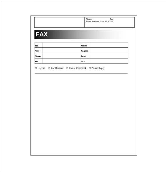 Fax Cover Example. Free Printable Blank Fax Cover Sheet Template