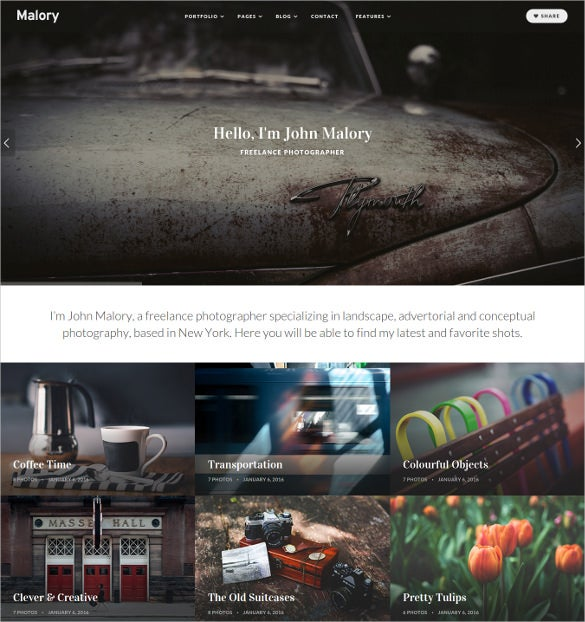 malory photography magazine wordpress theme