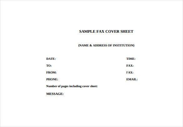 fax cover letter free pdf template download