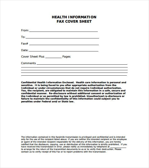 Health Information Fax Cover Letter Sample PDF Free Download  Fax Form Template Free